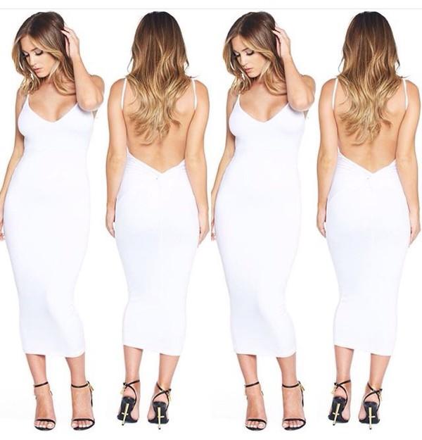 dress summer dress date outfit white dress bodycon dress backless dress
