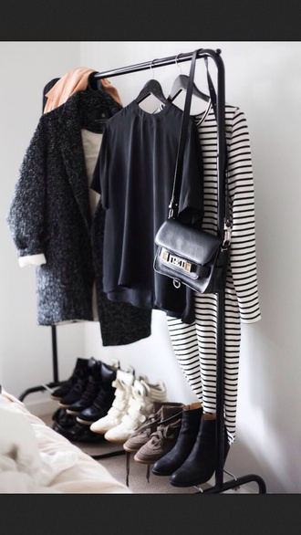 coat bag shoes tumblr clothes black white wedges top t-shirt tshirt design style striped top