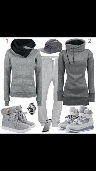 sweater grey grey sweatshirt grey sweatpants girls