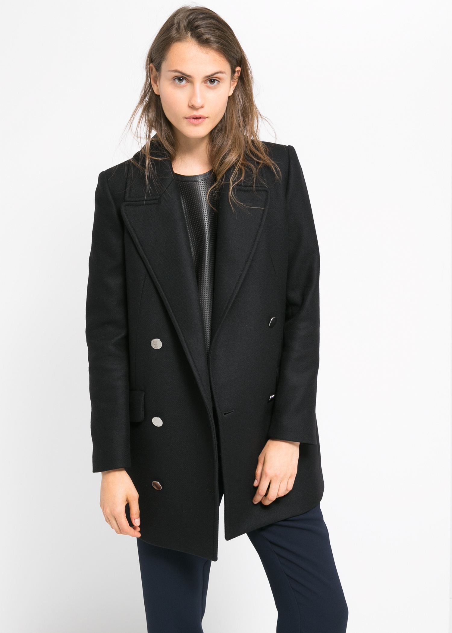 Double-breasted wool-blend coat - Coats for Women | MANGO