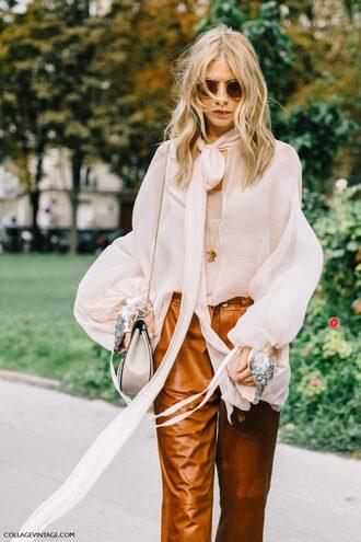 pants tumblr mustard mustard pants leather pants puffed sleeves white shirt shirt bag silver bag sunglasses fall outfits streetstyle