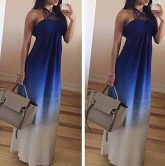 dress ombre ombre dress blue white maxi dress blue dress blue maxi dress white dress white maxi dress