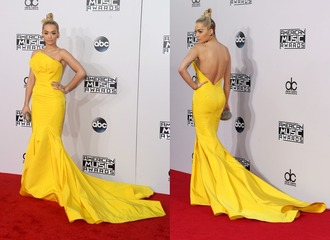 yellow yellow dress american music awards dress rita ora gown prom dress
