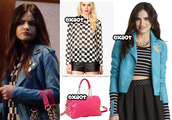 jacket,aria montgomery,pretty little liars,lucy hale,bag