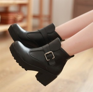 Women\'s Black Punk Gothic Buckle Strap Chunky Heels Platform Ankle ...