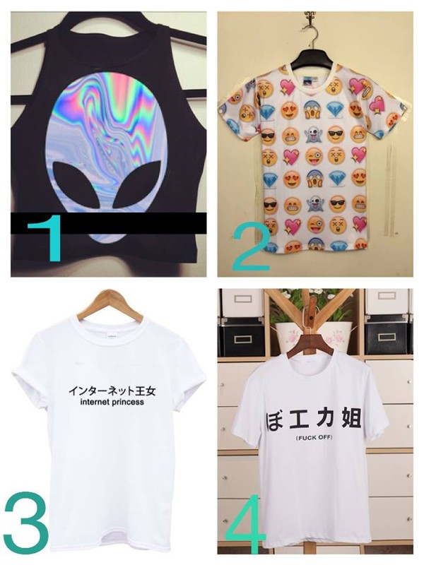 crop tops emoji print japanese writing t-shirt