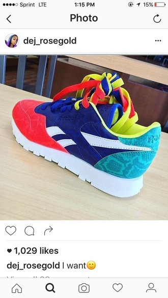 shoes reebok sneakers neon yellow blue