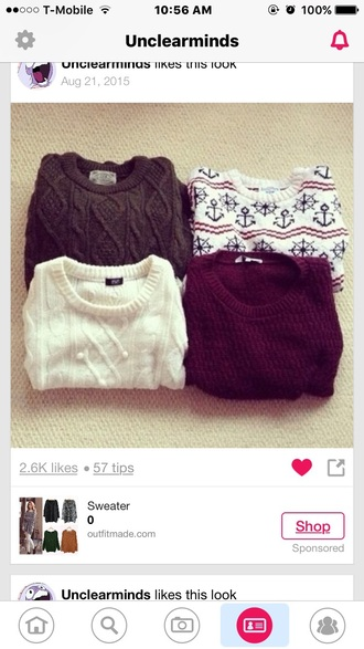 sweater knitwear burgundy tumblr white sailor brown comfy
