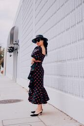 hallie daily,blogger,top,skirt,hat,bag,sunglasses,two piece dress set,polka dots,spring outfits