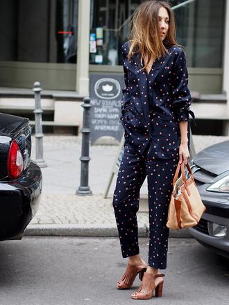 pants printed blazer pajama style blazer cropped pants printed pants matching set sandals sandal heels high heel sandals nude sandals bag nude bag streetstyle