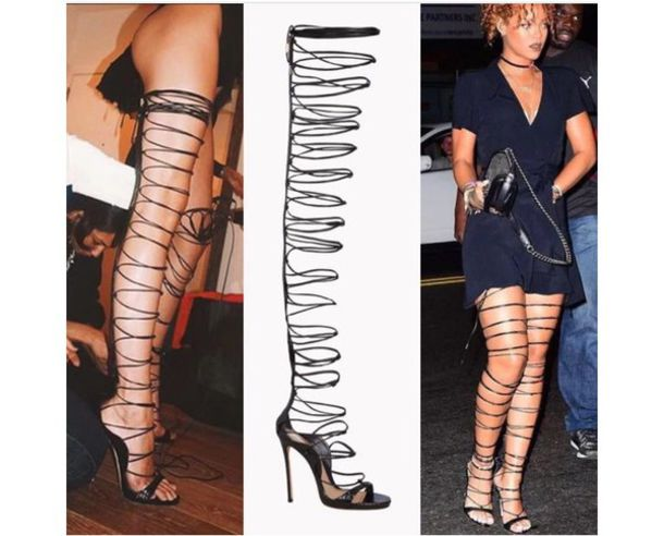 d656c47bca shoes, thigh high sandals, sandals, rihanna, strappy sandals ...