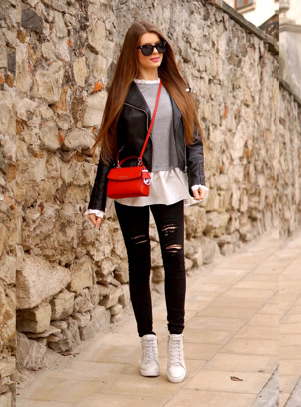 only my fashion style blogger shoes bag jacket blouse black leather jacket layered black jeans red bag boots