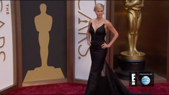 dress long dress red carpet oscars 2014 charlize theron little black dress