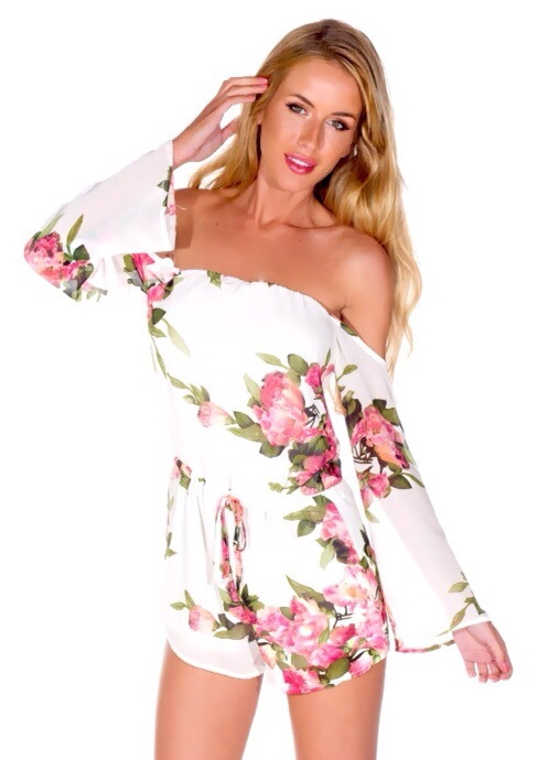 Lola – white and pink floral off shoulder playsuit