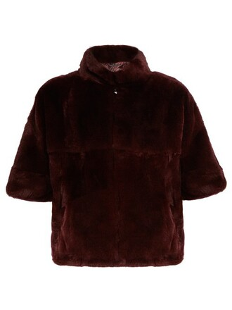 jacket fur jacket fur burgundy