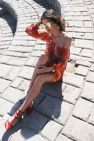 oh my blog blogger sunglasses off the shoulder dress summer dress cat eye dress red off the shoulder boho shoes jewels