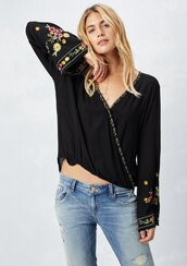 blouse,bell sleeve blouse,embroidered blouse,v neck blouse,bell sleeves,bell sleeve top,embroidered top,embroidered,surplice blouse,long sleeve surplice blouse,wrap top,bohemian top,bohemian,boho,boho chic,70s inspired top,70s inspired,retro top,retro,vintage inspired,vintage inspired top,fall outfits,fall top