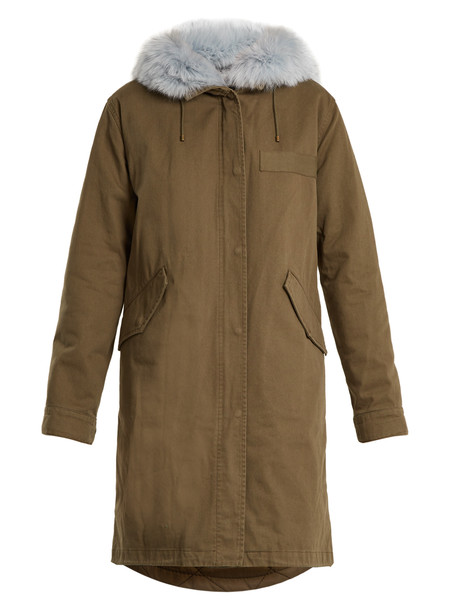 YVES SALOMON ARMY parka fur cotton khaki coat