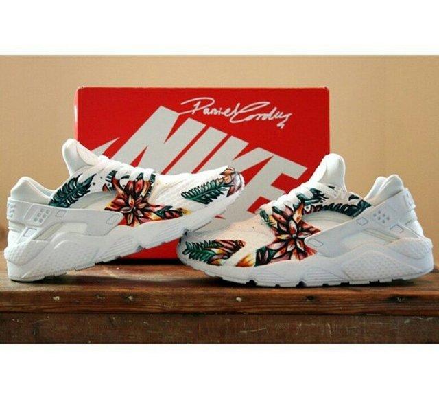 Hand Painted Floral Nike Huaraches by Daniel Cordas