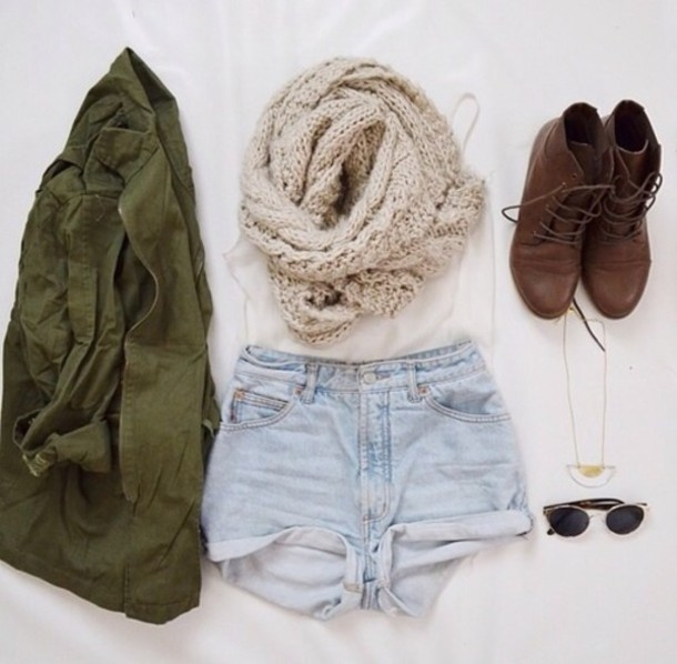 scarf tan winter outfits green tumblr cute shorts