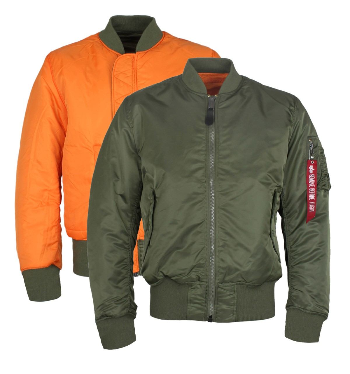 MA-1 Khaki Green & Orange Reversible Original Flight Jacket
