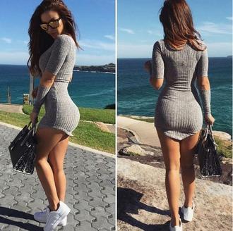 dress girl girly girly wishlist bodycon dress bodycon grey mini dress knit