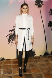 top,olivia palermo,blogger,blogger style,black and white,pants,shirt,shirt dress