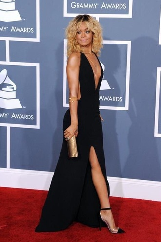 dress black dress backless maxi dress slit dress deep v dress plunge neckline sexy rihanna jewels rihanna style jewelry gold body chain gold body chain celebrity style celebrity celebstyle for less deep v backless dress