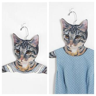 blue polka dots cute dress hanger clohtes cats sweet