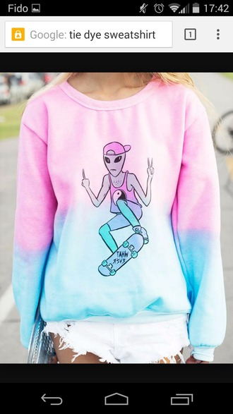 sweater extraterrestre pink sweater tie dye sweater blue sweater pull
