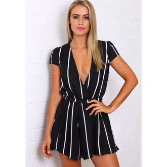 jumpsuit deep v neck dress romper deep v neck deep v neck bodycon dress striped shirt blue and white striped striped dress black suspender tights black jumpsuit