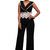 Two Tone V Neck Lace Crochet Sexy Jumpsuit