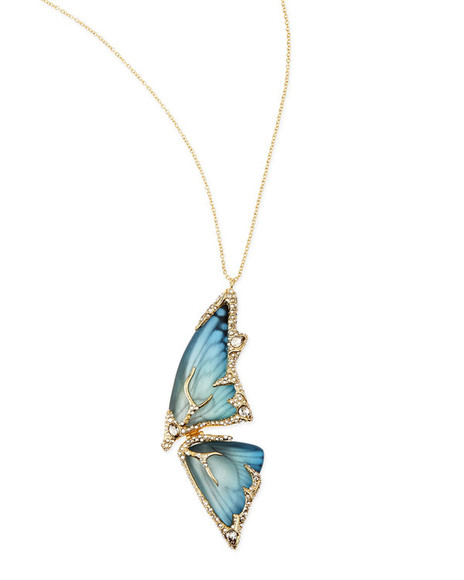 jewels necklace yellow pave crystal butterfly wing pendant necklace azure butterfly