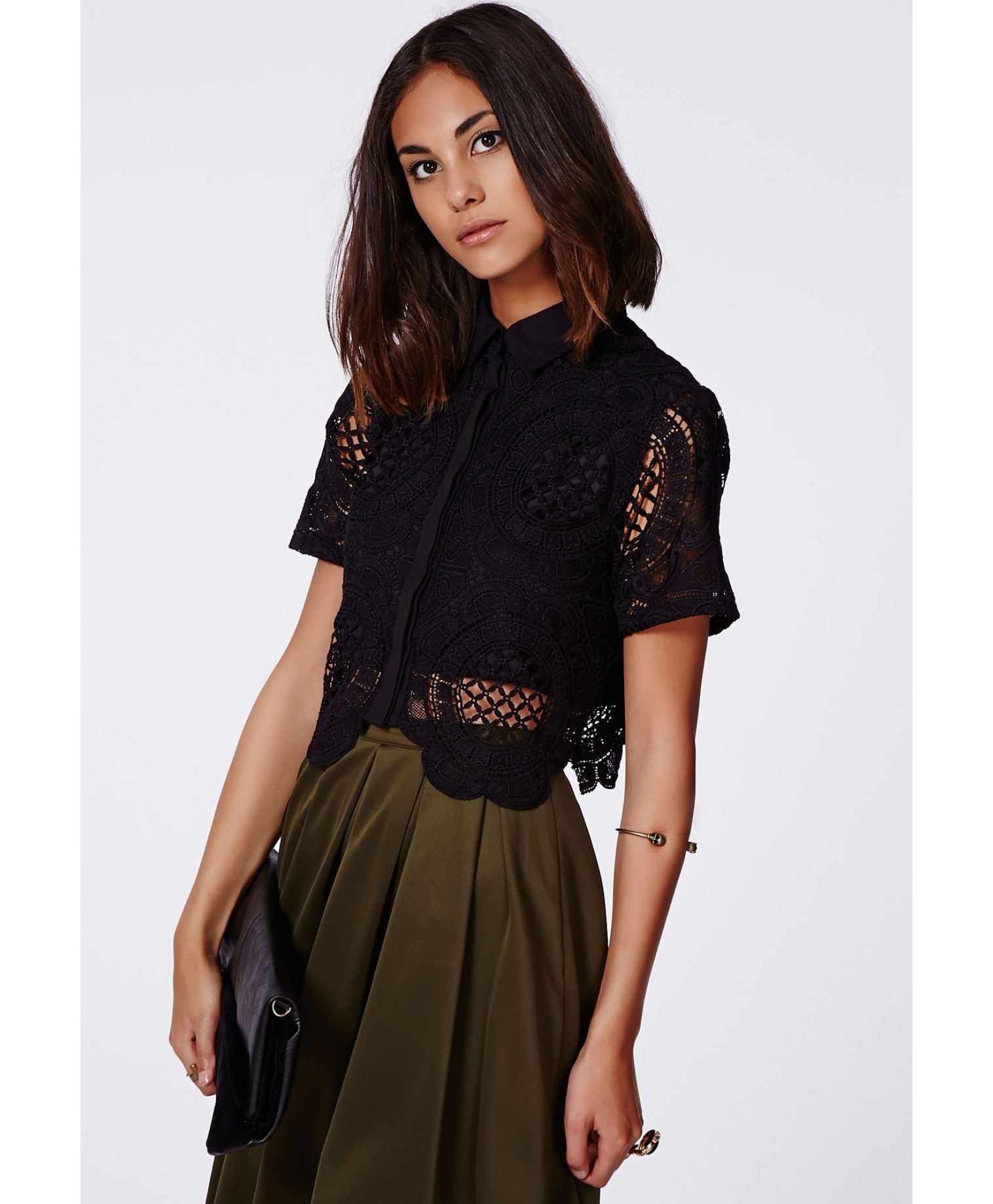 Missguided - Becki Cropped Premium Scalloped Lace Blouse Black