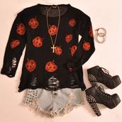sweater,romwe,black,jumper,halloween,pumpkins