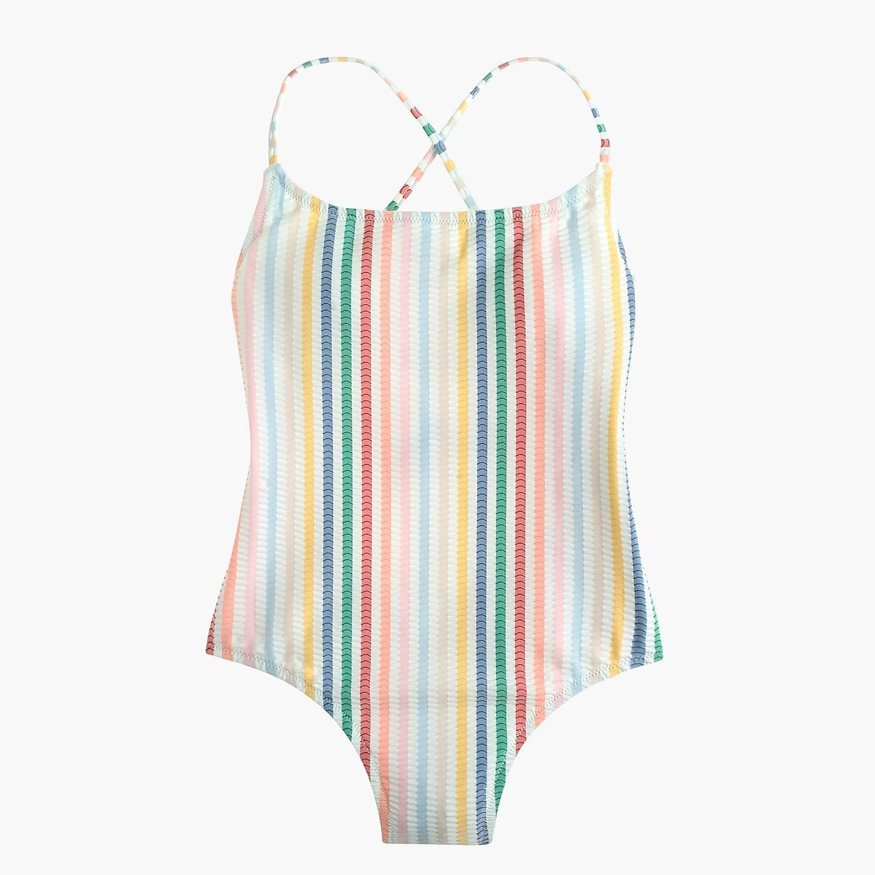 Lace-Up Back One-Piece Swimsuit In Suckered Rainbow Stripe