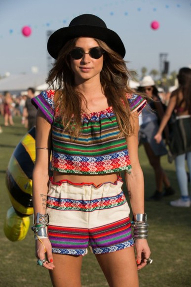 festival grunge top indie mexican girl fedora matching twopiece two-piece two-piece stripes colorful match two-piece ladie coordinates shorts indie shorts grunge top