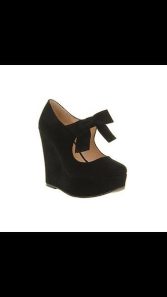 shoes black heels black shoes wedges high heels bows girly semi-formal semi formal bow high heels
