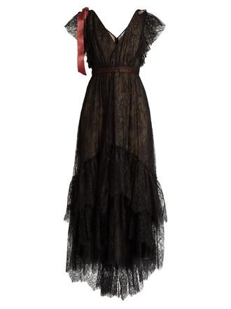 gown embroidered embellished floral black dress