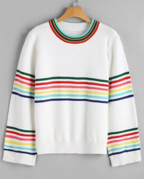 sweater girly sweatshirt white stripes colorful