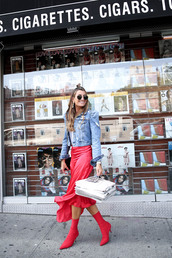shoes,tumblr,red boots,ankle boots,sock boots,skirt,red skirt,midi skirt,jacket,denim jacket,denim,sunglasses