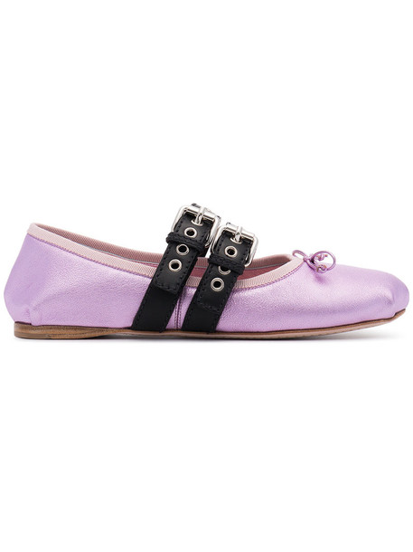 Miu Miu metallic ballet women flats ballet flats lace leather purple pink shoes