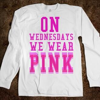 sweater on wednesdays we wear pink crewneck 10th anniversary cute pink white sweatshirt mean girls shirt