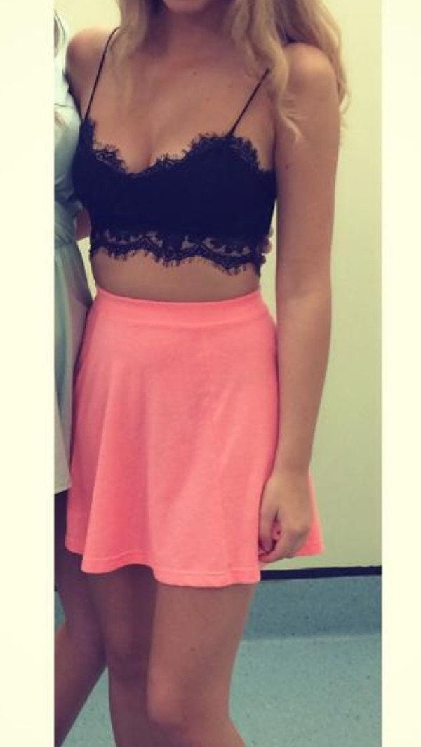 top crop tops lace bralette skirt