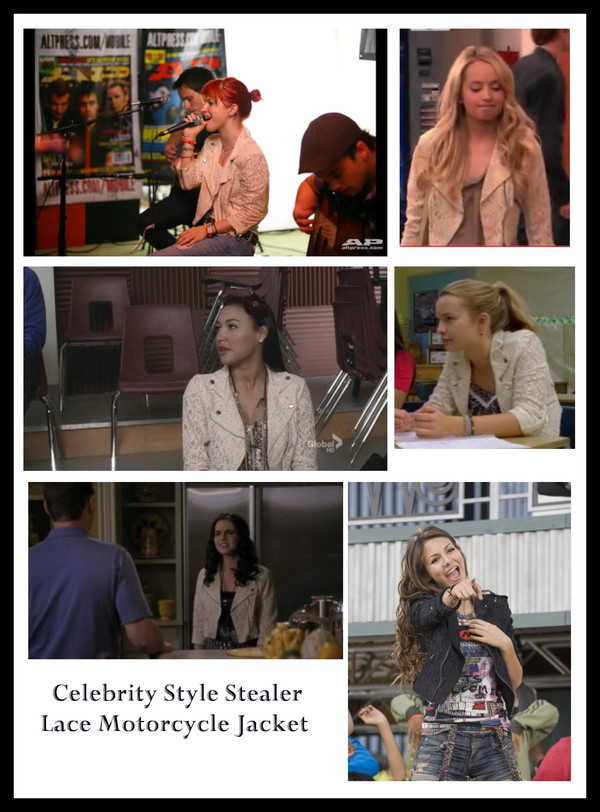 jacket megan park the secret life of the american teenager tv fashion switched at birth vanessa marano vanesa marano marano victoria justice victorious paramore hayley williams naya rivera naya glee bridgit mendler lemonade mouth celebrity style steal celebrity style celebrity celebrity lace black lace jacket lace jacket biker jacket black biker jacket black cream h&m