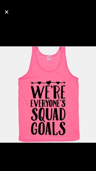 tank top squad pink fashion muscle tee summer quote on it shirt sportswear