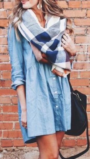 Dress denim dress infinity scarf scarf denim casual for T shirt dress outfit tumblr