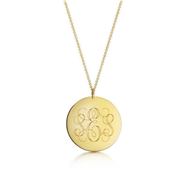 Disc monogram necklace gold initial engraved large pendant jewels nadin art design gold filled monogrammed gift gifts for women engraved necklace valentines day gift aloadofball Gallery