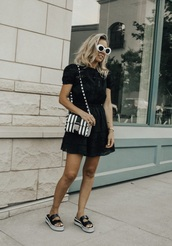 dress,mini dress,black dress,shoes,sandals,sunglasses,white sunglasses