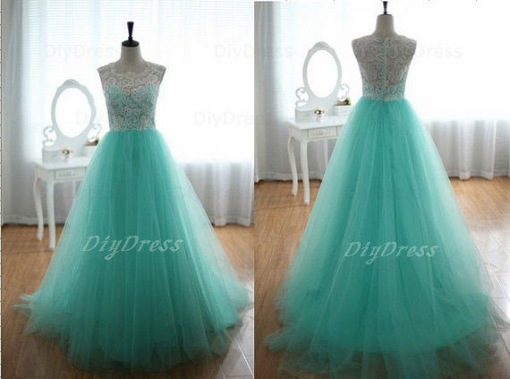 Mint tulle ivory lace prom dressestulle skirt evening by diydress